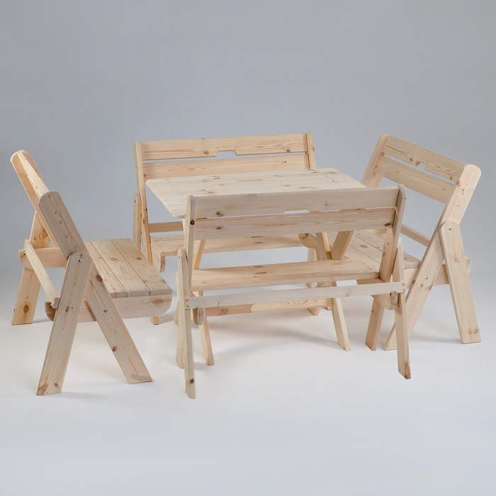"""Комплект садовой мебели """"Душевный"""": стол 1,2 м, четыре скамейки"""