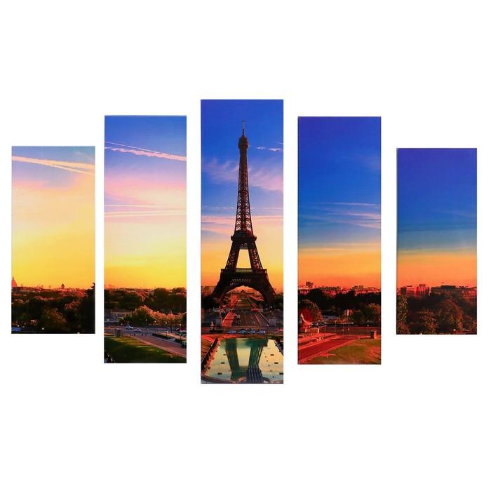"Модульная картина ""Эйфелева башня на рассвете"" (2-23х52; 2-24х70; 1-24х80) 120х80см"