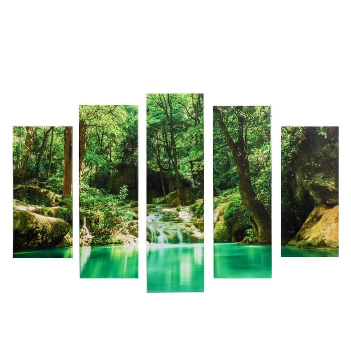 """Модульная картина """"Водопад в лесу"""" (2-23х52; 2-24х70; 1-24х80) 120х80см"""