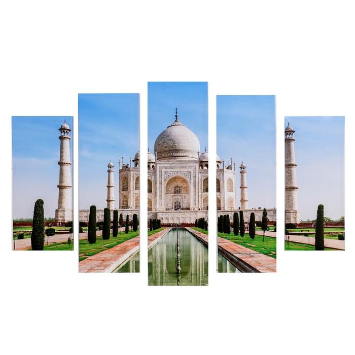 "Модульная картина ""Индийский храм"" (2-23х52; 2-24х70; 1-24х80) 120х80см"
