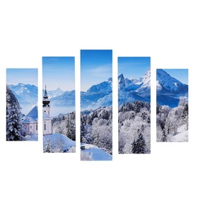 """Модульная картина """"Зимний день"""" (2-23х52; 2-24х70; 1-24х80) 120х80см"""