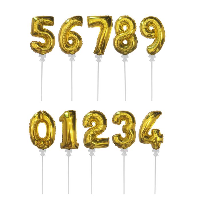 "Шар-самодув 3"" «Цифра 0-9», с палочкой, набор 10 шт., цвет золотой - фото 308474652"