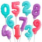 "Шар самодув 3"" «Цифра 0-9», с палочкой, самодув, набор 10 шт., цвет серебряный - фото 308474653"