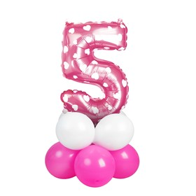 """A bouquet of balloons """"5"""", figure, foil, latex, set of 9 piece, color pink with heart"""