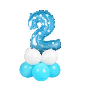 "A bouquet of balloons ""2"", figure, foil, latex, set of 9 PCs, color blue stars"