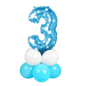"A bouquet of balloons ""3"", figure, foil, latex, set of 9 PCs, color blue stars"