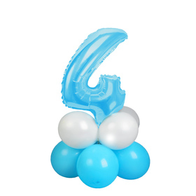 "A bouquet of balloons ""4"", figure, foil, latex, set of 9 PCs, color blue stars"