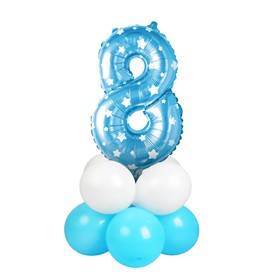 "A bouquet of balloons ""8"", figure, foil, latex, set of 9 PCs, color blue stars"
