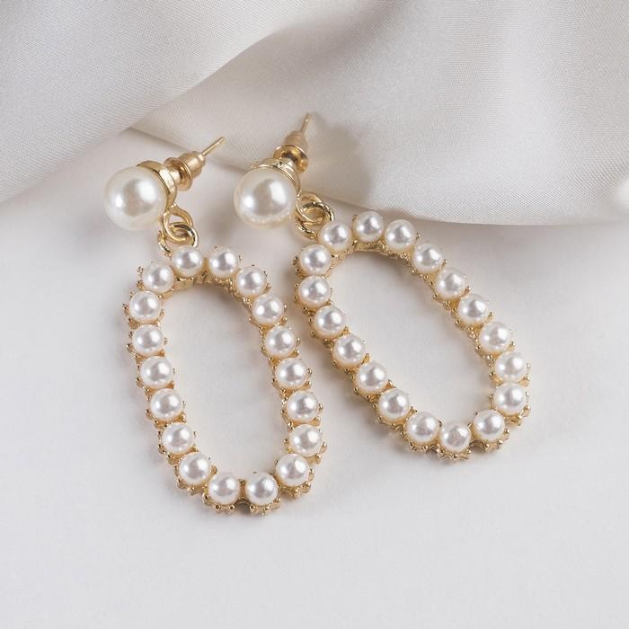 """Серьги с жемчугом """"Нежность"""" полый овал, цвет белый в золоте - фото 798291581"""