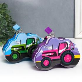 "Копилка металл ""Трактор"" с замком и ключами МИКС 6х14х9 см"