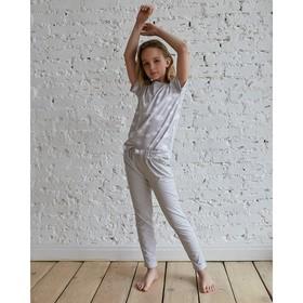Брюки свободные для девочки MINAKU «Полоса», рост 98-104, цвет серый