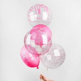Букет из шаров «День рождения», полимер, фольга, набор 5 шт., цвет розовый