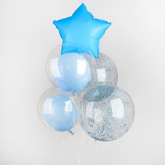Букет из шаров «Нежный», полимер, фольга, набор 5 шт., цвет голубой - фото 308466700