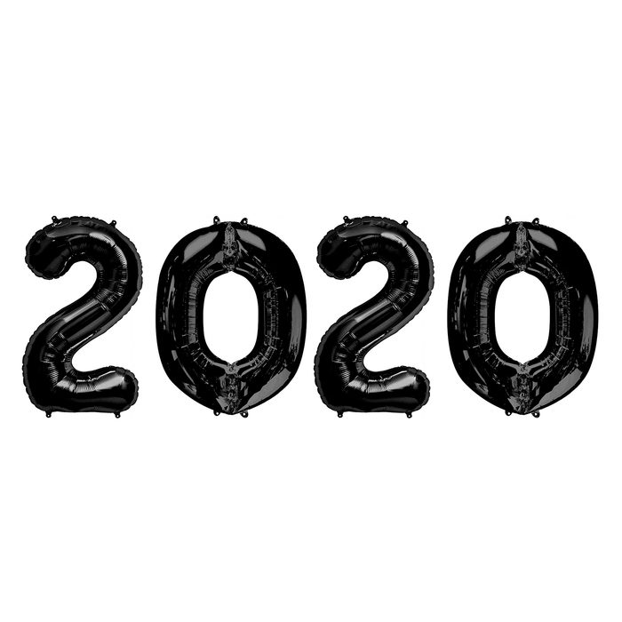 """Шар фольгированный """"2020"""" 32"""" цвет черный - фото 308473812"""