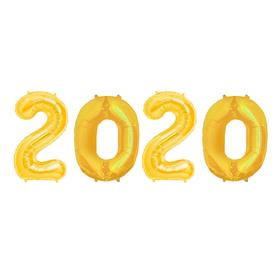 """Шар фольгированный """"2020"""" 40"""", цвет золото"""