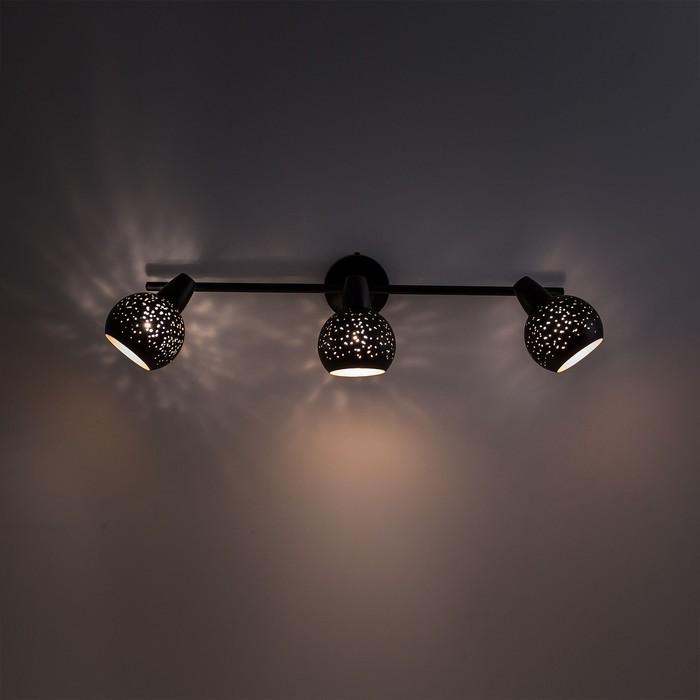 Светильник Деко, 3x60Вт Е14 чёрный, золото