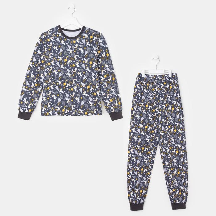 Пижама для девочки, «Единороги» чёрный, рост 116-122 см