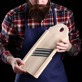 Шинковка деревянная, три лезвия, 40х15см, массив бука