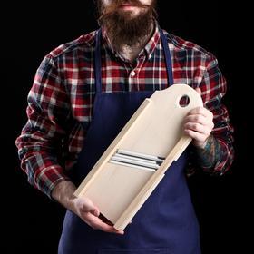 Шинковка деревянная, два лезвия, 40х15 см, массив бука