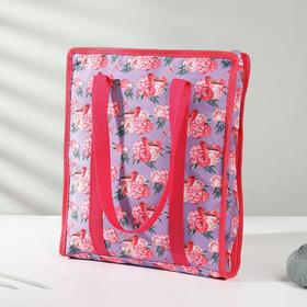 "Needlework bag ""Flowers"", 35 × 30 × 7 cm, lilac color."