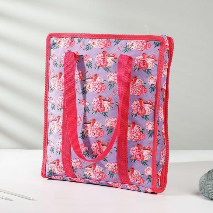 Сумка для рукоделия «Цветы», 35 × 30 × 7 см, цвет сиреневый