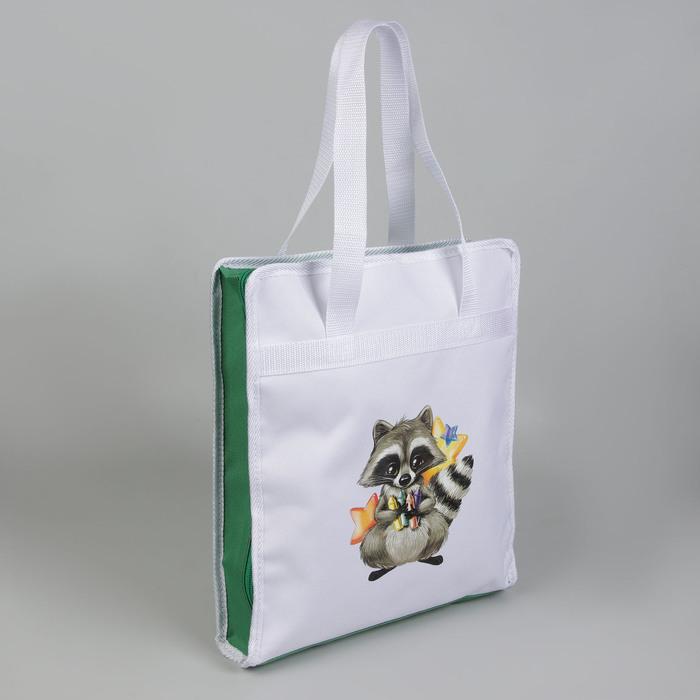 Сумка для рукоделия «Енот», 35 × 30 × 7 см, цвет белый/зелёный