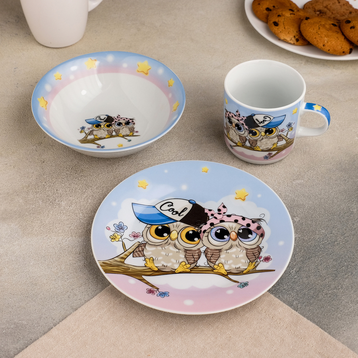 Набор детской посуды Доляна «Совы тинейджеры», 3 предмета: кружка 230 мл, миска 400 мл, тарелка 18 см - фото 105458205