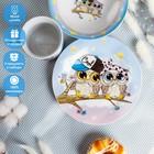 Набор детской посуды Доляна «Совы тинейджеры», 3 предмета: кружка 230 мл, миска 400 мл, тарелка 18 см - фото 105458206