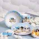 Набор детской посуды Доляна «Совы тинейджеры», 3 предмета: кружка 230 мл, миска 400 мл, тарелка 18 см - фото 105458207