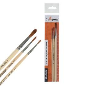 Набор кистей Колонок 3 штуки, Calligrata (круглые №: 1, 2, 4), деревянная ручка