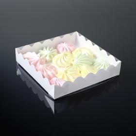 Коробочка для печенья, белая, 12 х 12 х 3 см