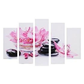 """Модульная картина """"Орхидеи в воде"""" (2-23х52; 2-24х70; 1-24х80) 120х80см"""