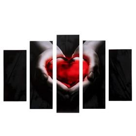 "Модульная картина ""Красное сердце"" (2-23х52; 2-24х70; 1-24х80) 120х80см"
