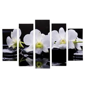 "Модульная картина ""Белые орхидеи у воды"" (2-23х52; 2-24х70; 1-24х80) 120х80см"