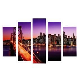 """Модульная картина """"Ночной мост"""" (2-23х52; 2-24х70; 1-24х80) 120х80см"""