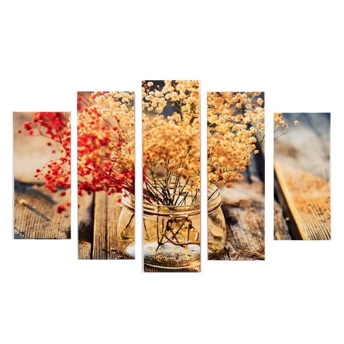 """Модульная картина """"Гербарий"""" (2-23х52; 2-24х70; 1-24х80) 120х80см"""