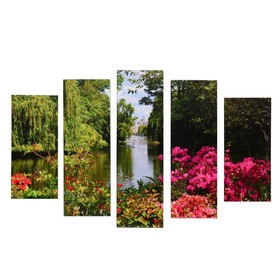 "Модульная картина ""Река"" (2-23х52; 2-24х70; 1-24х80) 120х80см"