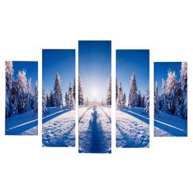 """Модульная картина """"Зимний лес"""" (2-23х52; 2-24х70; 1-24х80) 120х80см"""