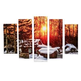 "Модульная картина ""Лесной домик"" (2-23х52; 2-24х70; 1-24х80) 120х80см"