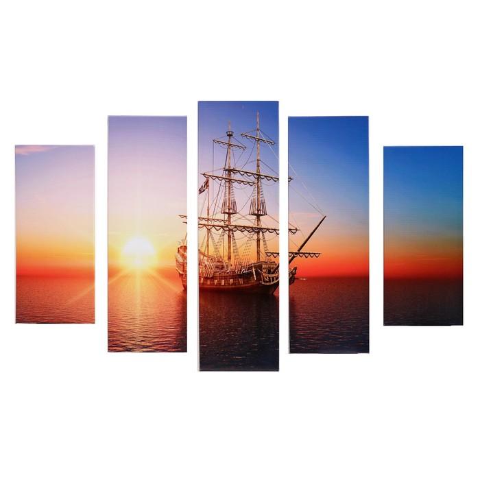 "Модульная картина ""Корабль в море"" (2-23х52; 2-24х70; 1-24х80) 120х80см"
