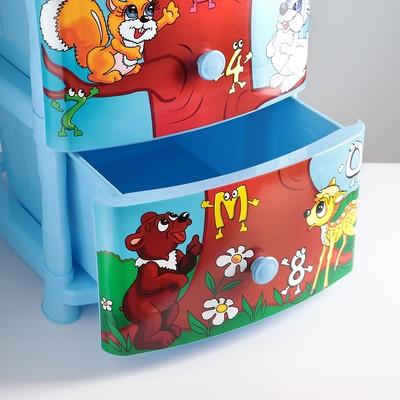 Комод детский 4-х секционный «Дерево знаний», цвет голубой