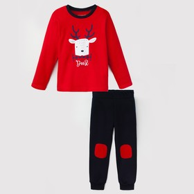 """Комплект: джемпер и брюки Крошка Я """"Deer"""", красный/синий, р.26, 74-80 см"""