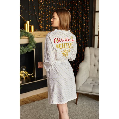 "Bathrobe womens KAFTAN ""Merry and bright"", white, p 40-42"