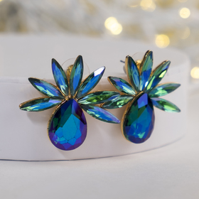 """Earrings with rhinestones """"azure"""" , color green-blue"""