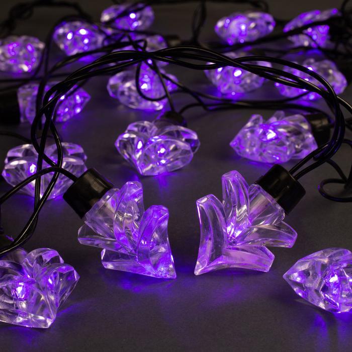 """Гирлянда """"Нить"""" улично-комнатная с насадками """"Ель большая"""", 5м, LED(IP44)-40-220V, 8 режимов, нить тёмная, свечение фиолетовое"""