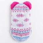 Шлем-капор зимний для девочки, цвет бело-малиновый, размер 46-48 - фото 105566539