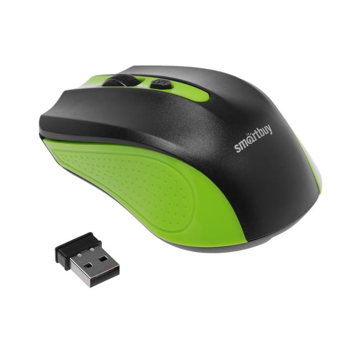 Мышь Smartbuy ONE 352, беспроводная, оптическая, 1600 dpi, 2xAAA (не в компл), зелёно-чёрная