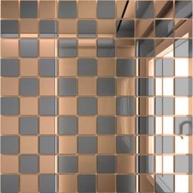 Зеркальная мозаика «Бронза» (50%) + «Графит»(50%) с чипом 25х25 мм