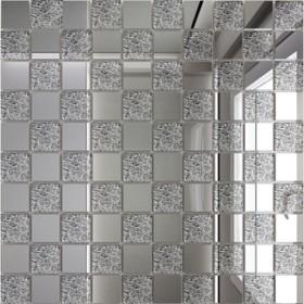 Зеркальная мозаика «Серебро» (50%) + «Хрусталь»(50%) с чипом 25х25 мм
