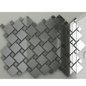 Зеркальная мозаика «Серебро» (70%) + ««Графит» (30%) с чипом 25х25 мм и 12х12 мм